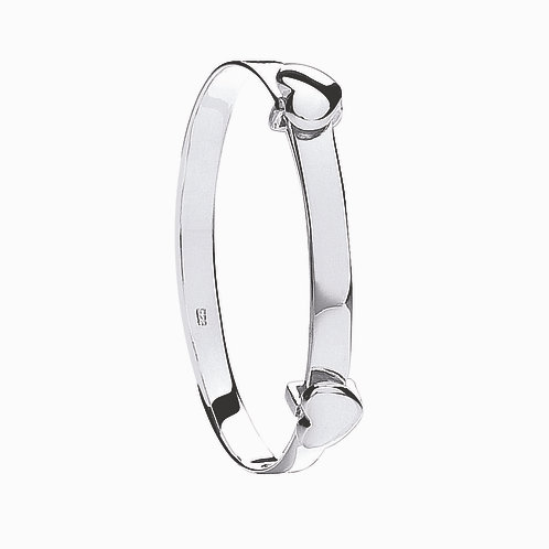 Sterling Silver Expandable  Heart Baby Bangle