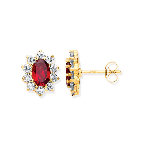9ct yellow Gold Ruby & CZ cluster Earrings