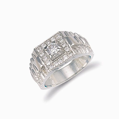 9ct White Gold Sq Top Gents CZ Ring