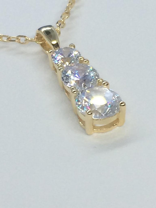Sterling Silver 3 Stone Gold plated Necklace
