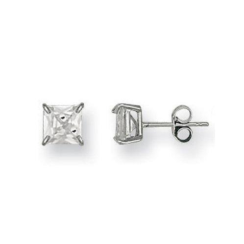 9ct White gold 6mm  princess cut CZ studs