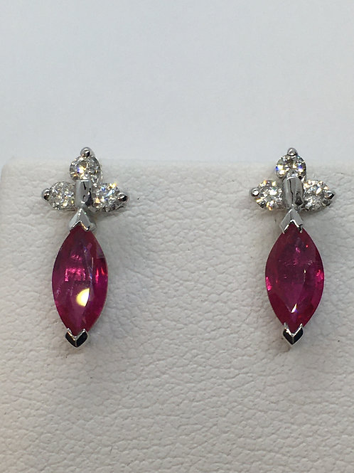 18ct White Gold Ruby Diamond  Earrings