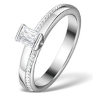 0.30CT IDEAL PRINCE CUT DIAMOND AND 18K WHITE GOLD