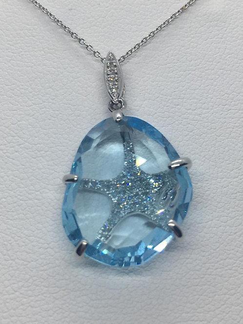14ct White Gold Blue Topaz Diamond Necklace