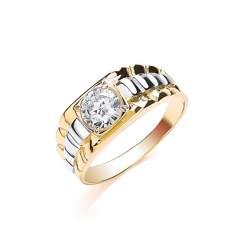 9ct yellow/White Gold Gents CZ Ring