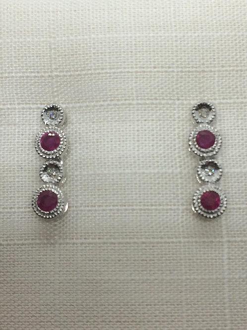 14ct White Gold Ruby-Diamond Earrings