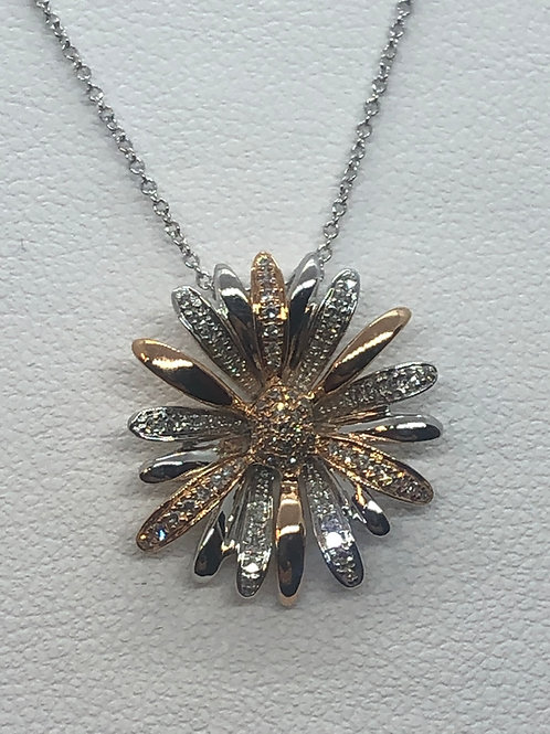 14ct White and Rose Gold Diamond Necklace