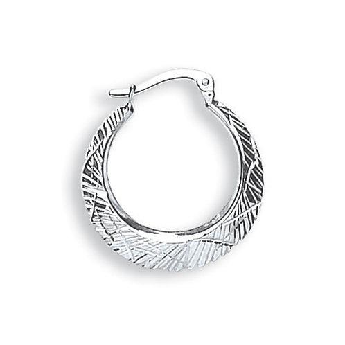 9ct White Gold D/C hoop earrings