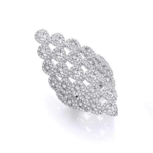 Silver Diamond Shape CZ Ring