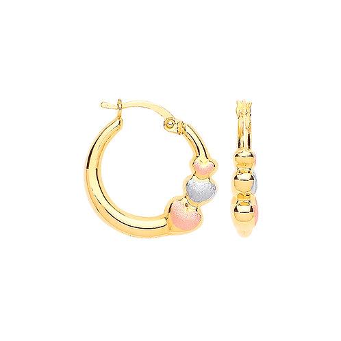 9ct Rose/White/Gold Heart Hoop Earrings