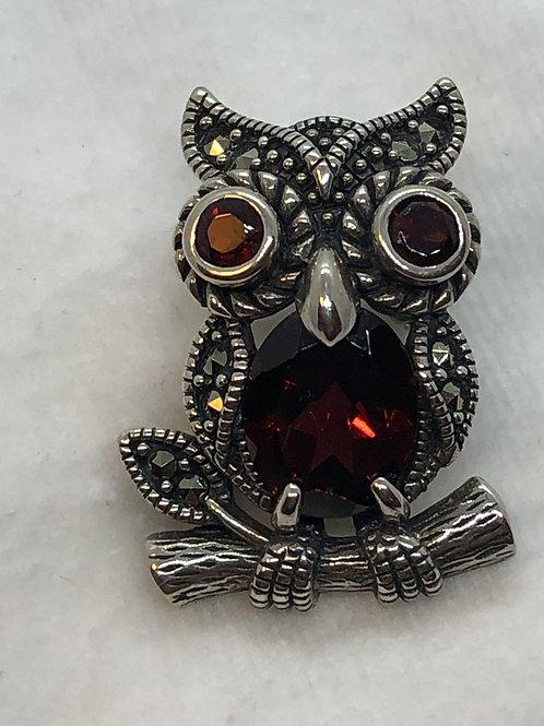 Sterling Silver Marcasite Owl Brooch/Pendant