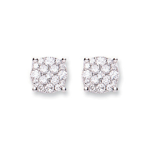 18ct White Gold  0.50ct Cluster Diamond Stud Earrings