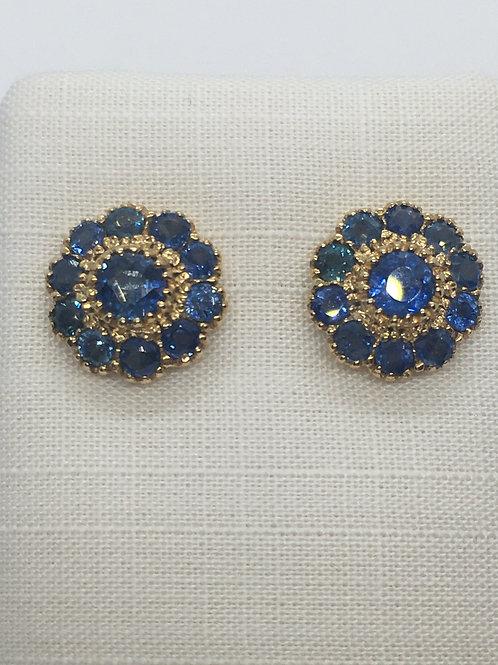 14ct Yellow Gold Sapphire Diamond Earrings