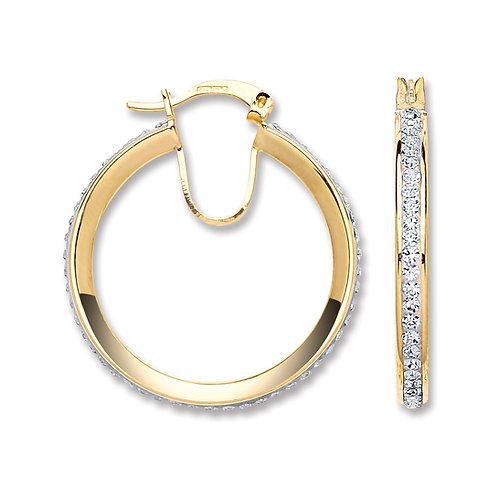 9ct Yellow Gold Crystal hoop earrings