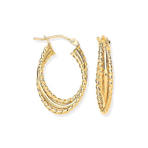9ct yellow Gold3-ayer Ribbed & Plain OvalEarrings