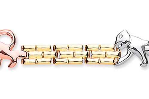 9ct 3-Colour Gold Panther Bracelet