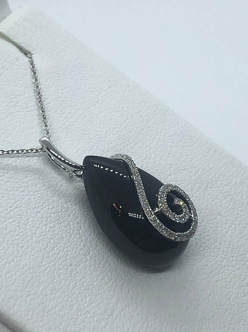 14ct White Gold Diamond Onyx Necklace