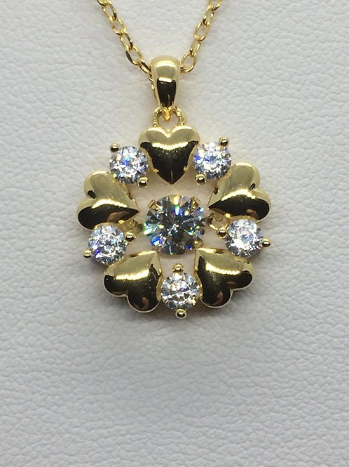 Sterling Silver Gold plated Flower Pendant