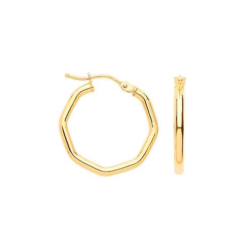 9ct yellow Gold Octagon Hoop Earrings