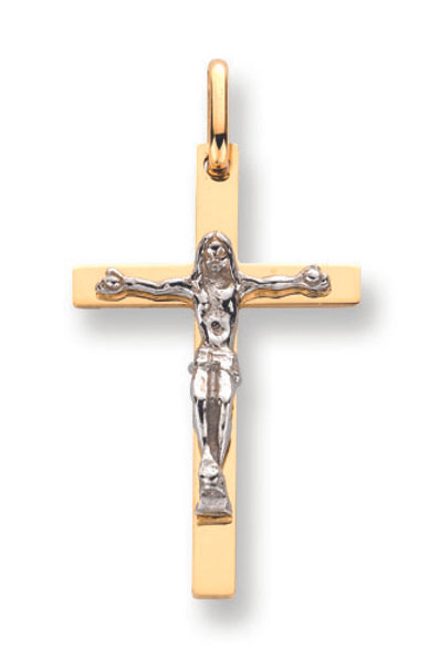 9ct White /yellow Gold crucifix