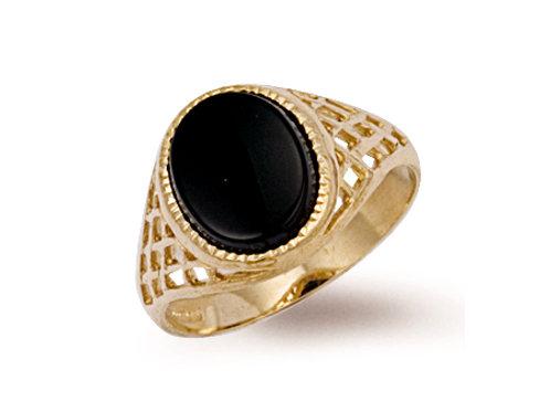 9ct yellow Gold onyx ring