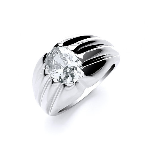 Sterling Silver Gents CZ Ring