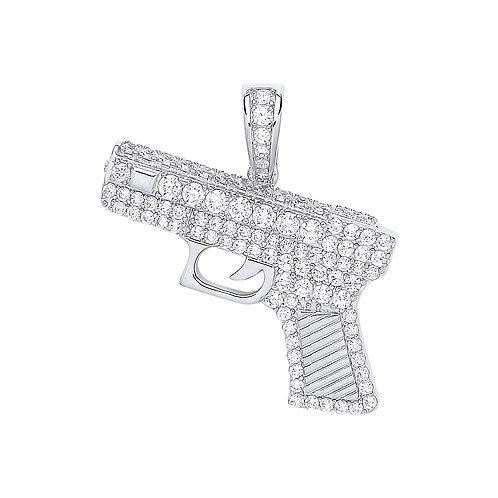 Silver CZ Pistol Pendant