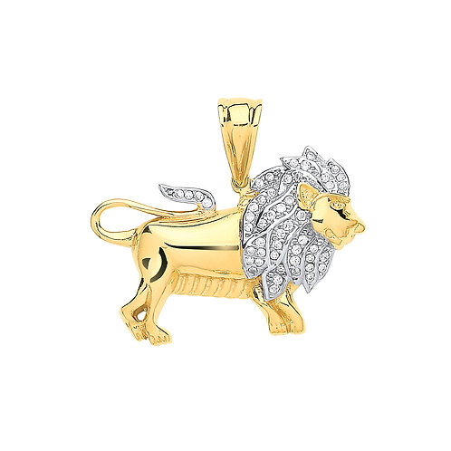 9ct yellow Gold CZ Lion Pendant