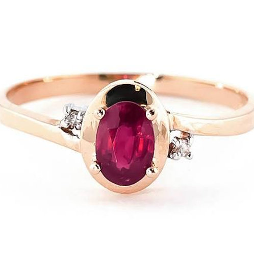 Diamond & Ruby Ring in 9ct Rose Gold, 0.50ct Oval