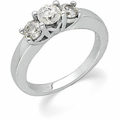 14K WHITE GOLD DIAMOND ENAGEMENT RING 3 ROUND DIAM