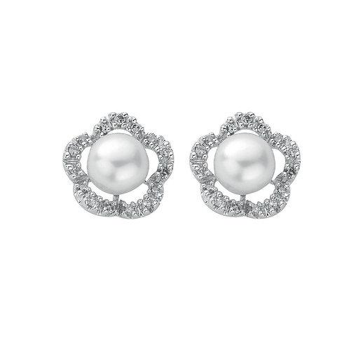 9ct White Gold Diamond & Pearl Studs