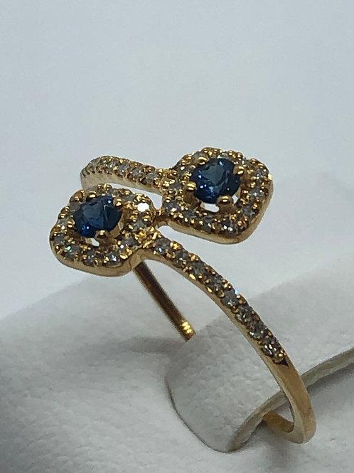 14ct Yellow Gold Sapphire Diamond Ring