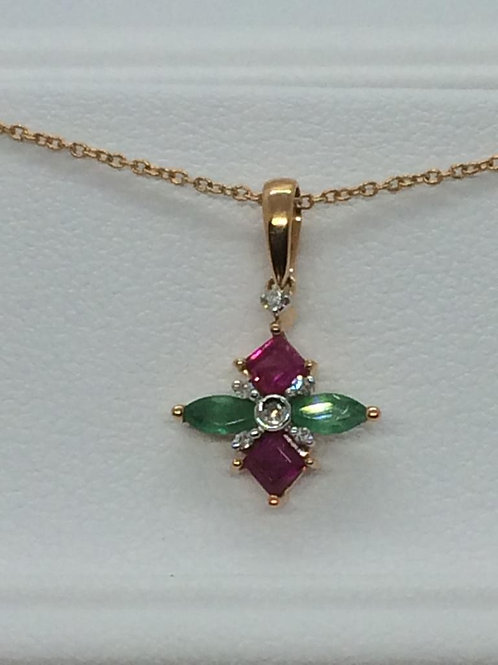 14ct Yellow Gold Ruby -Emerald Necklace