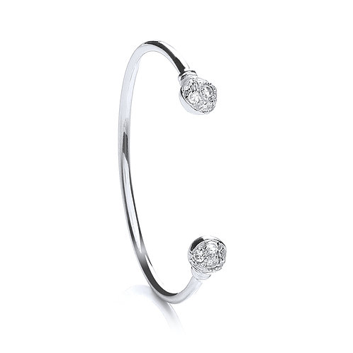 Sterling Silver Baby CZ Torque Bangle