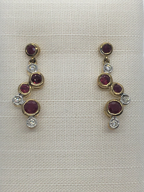 9ct Yellow Gold Ruby Diamond Earrings
