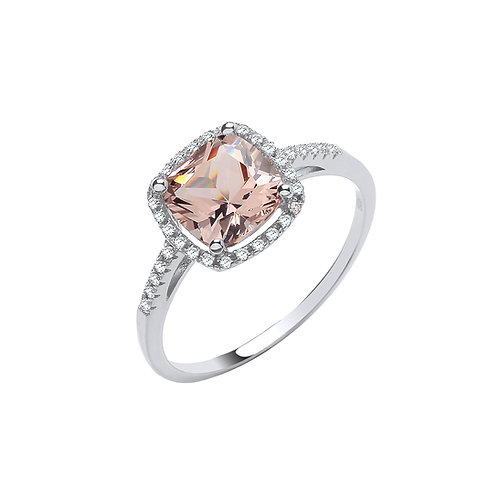 Silver CZ Halo Ring