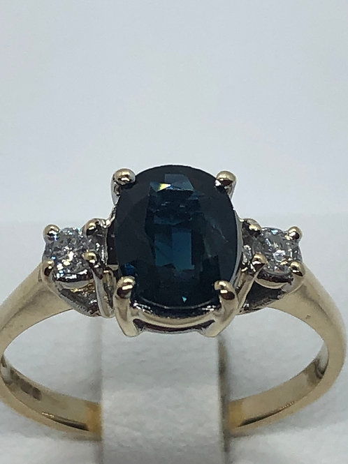 9ct yellow Gold Sapphire Diamond Ring