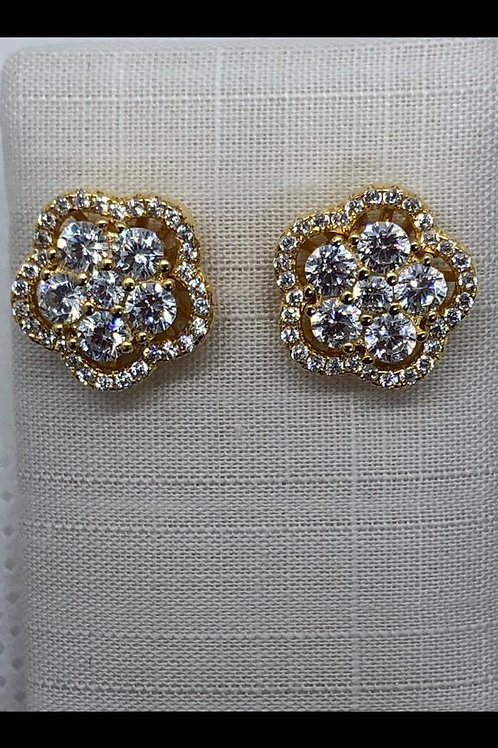 Sterling Silver Gold plated CZ Earrings