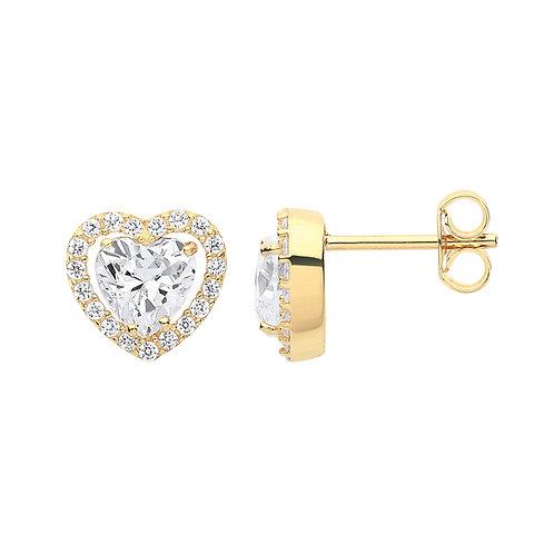 9ct yellow Gold Heart Halo CZ Stud Earrings