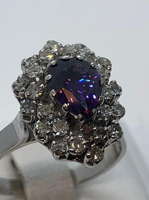 18ct White Gold Diamond Amethyst Ring