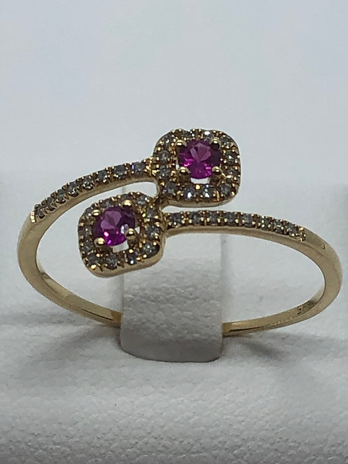 14ct Yellow Gold Ruby Diamond Ring