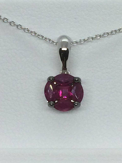 14ct White Gold Ruby Necklace