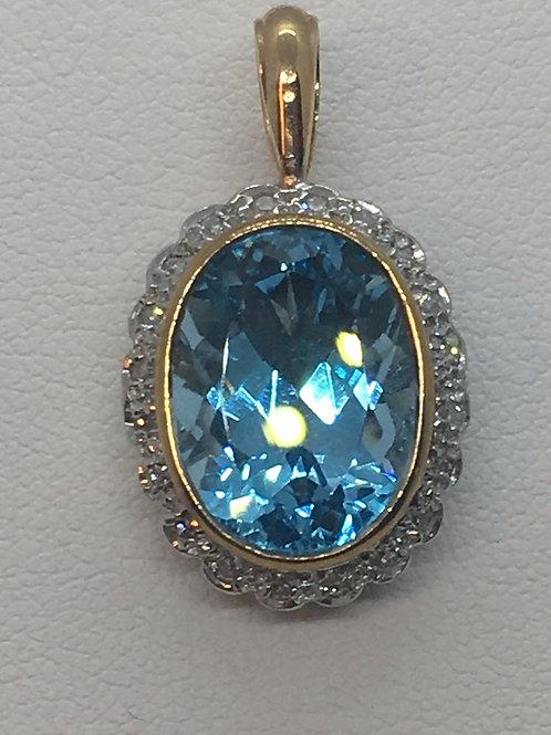 9ct Gold BlueTopaz Diamond pendant
