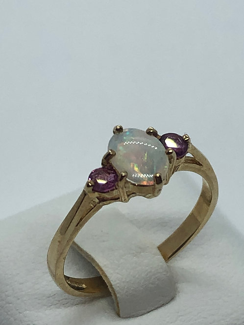 9ct Yellow Gold Opal Ruby Ring
