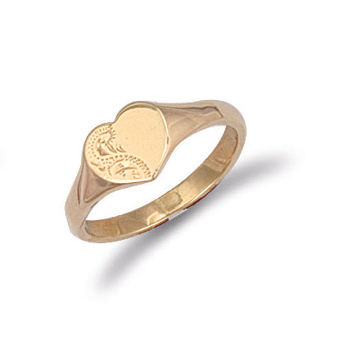 9ct yellow Gold heart shaped engraved signet ring