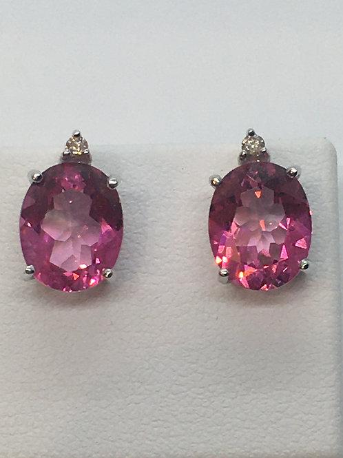 14ct White Gold Pink Topaz Earrings