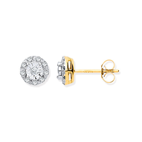 9ct yellow Gold 0.13ct Diamond Stud Earrings