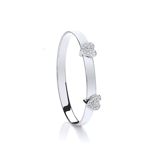 Sterling Silver Baby CZ Heart Expandable  Bangle