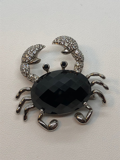 Sterling Silver Marcasite Crab Brooch/Pendant