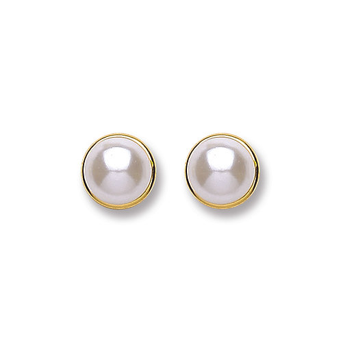 9ct yellow Gold simulated pearl studs